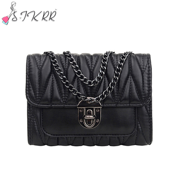 S.IKRR Fashion Womens Bag 2020 Pleated Leather Chain Cross Body Woman Mini Shoulder Messenger Bags Purses And Handbags