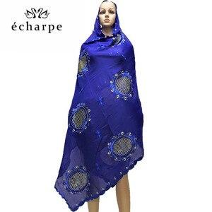 Image 2 - African women in head scarf embroidery cotton shawl turban Muslim new turban