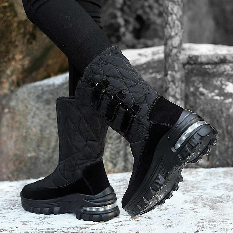 PINSEN 2019 kadın kışlık botlar su geçirmez yüksek kalite sıcak tutmak peluş çizmeler kadın orta buzağı kar botları olmayan kayma botas mujer