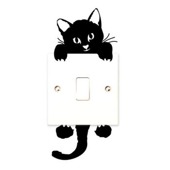 Wall Stickers Cute Black Cat Shape Baby Nursery Room Living Room PVC Durable Removable Waterproof Light Switch Decor Art Decals image