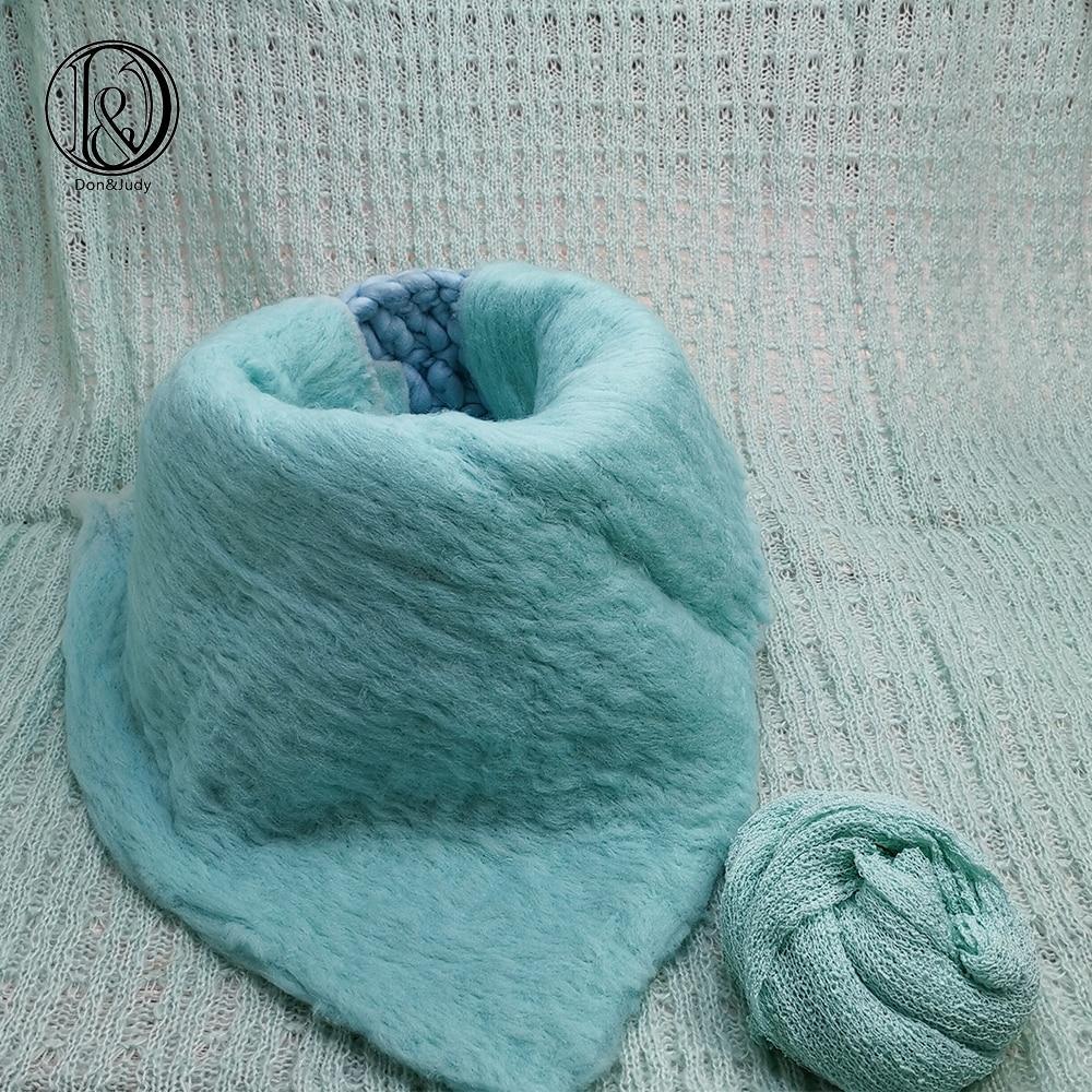 Don&Judy Handcraft 50x50cm Blanket + Basket +150x100cm Backdrop+140x30cm Wrap Newborn Blanket Background for Photo Shoot Prop