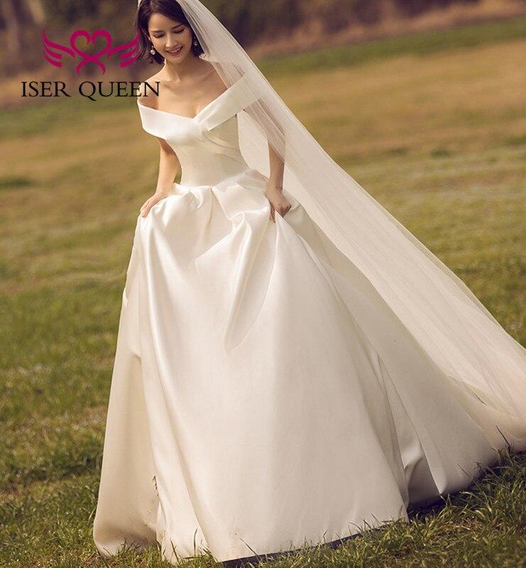 V Neck Europe Elegant Satin Wedding Dress New Cap Sleeve Court Train Lace Up wedding dress 2020 Bridal Gown WX0055
