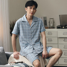Лето хлопок пижама мужчины плед короткий рукав +% 2B брюки одежда для сна пижама Hombre пижамы пижамы домашняя ткань шорты костюм плюс размер 5XL