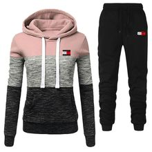 Brand Casual Tracksuit women Sets Hoodies+Pants Two Piece Sets print Hooded Sweatshirt Outfit Sportswear Female Suit Clothing