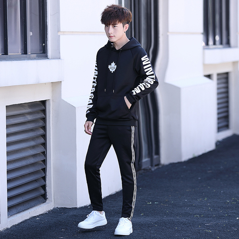 MEN'S Sportswear Set Spring Popular Brand Hooded Pullover Hoody Men's Korean-style Trend Casual Two-Piece Set Spring And Autumn