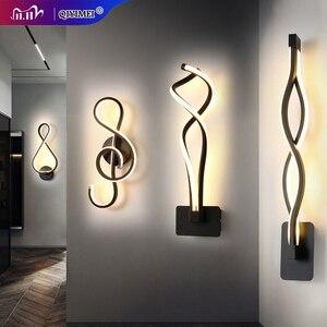Image 1 - Nowoczesne minimalistyczne kinkiety salon sypialnia nocna 16W AC96V 260V LED kinkiet czarny biały lampa oświetlenie alejek dekoracji