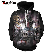 Fashion Men Hooded 3D Skull Printed Hoodies Polluver Punk Style Hip Hop Rock Sweatshirt Gothic Horror Long Sleeve