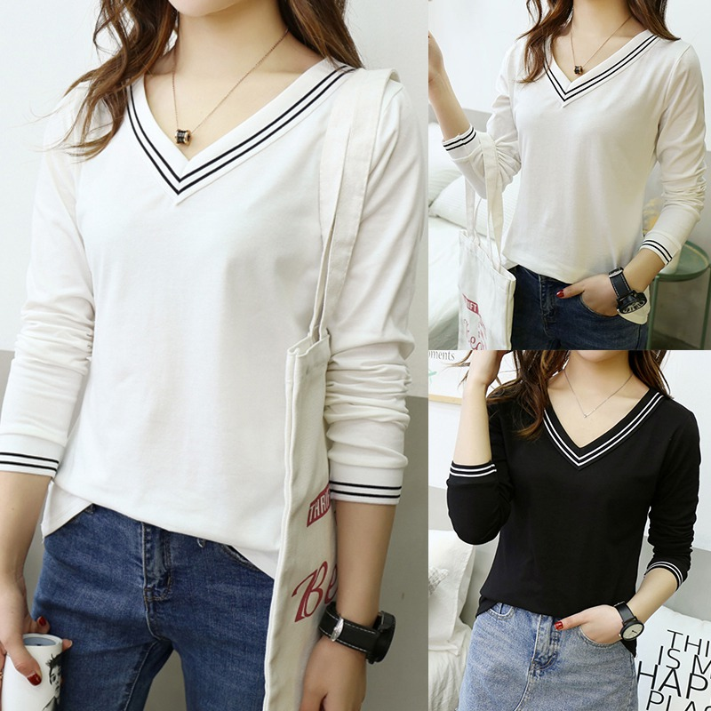 Korean Style Fashion Women Cotton Tee Solid Color Striped V-neck Slim Long-sleeved Knitwear T-shirt Fall Clothing