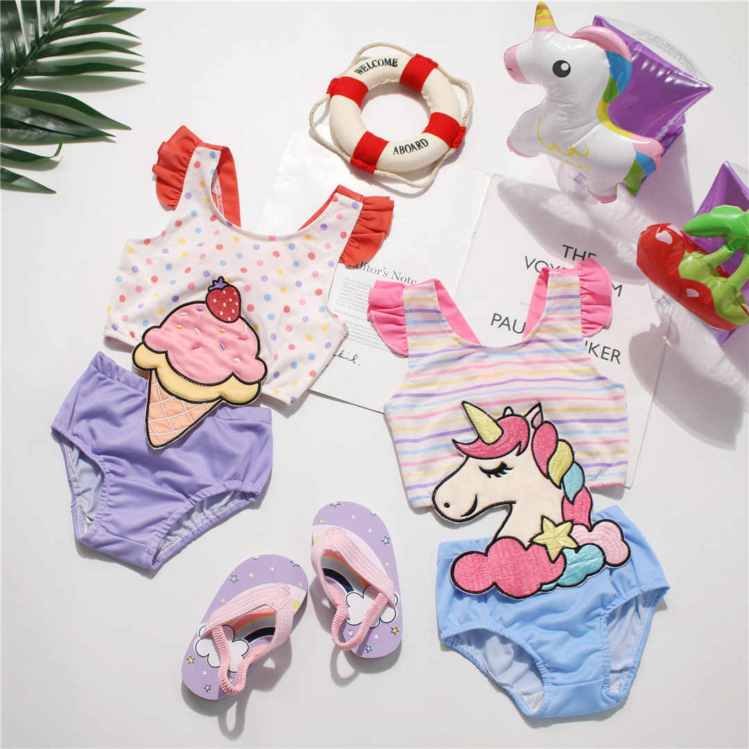 Tonytaobaby One-Piece Girls Swimsuit Baru Es Krim Unicorn Baju Renang Anak