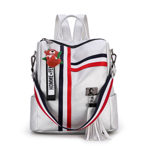 Image 4 - LISM shoulder bag for youth bags leather Tassel 2020 new retro fashion zipper ladies backpack leather high quality school bag