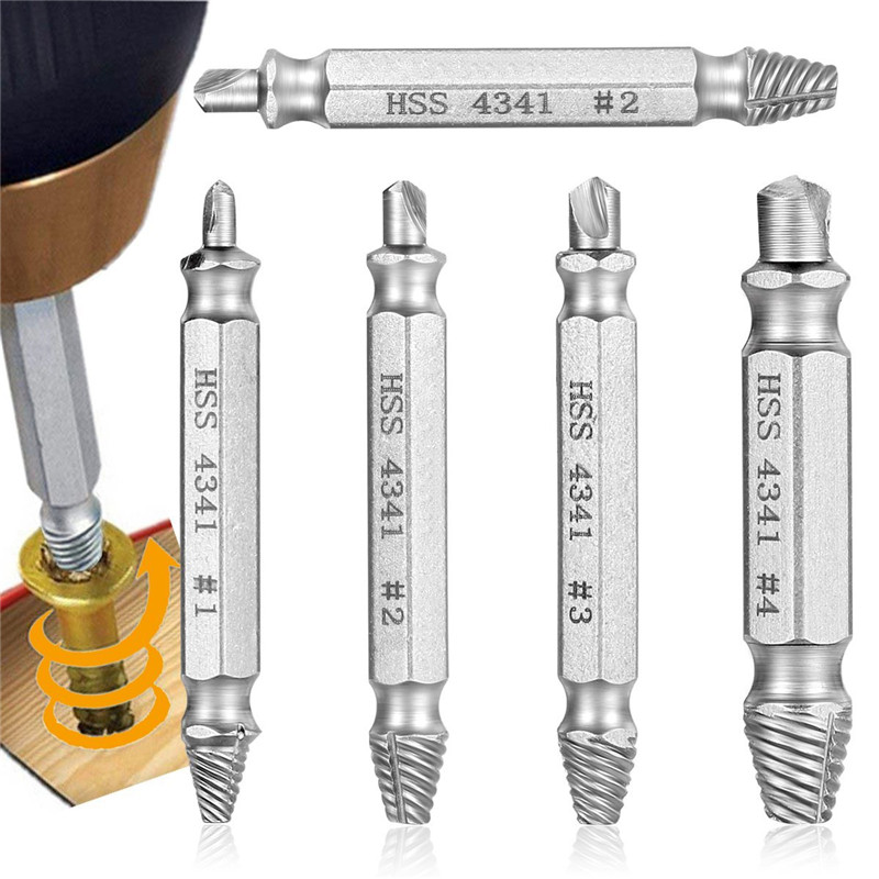 4Pcs/set Broken Damaged Screw Extractor Drill Bit Guide Set Broken Bolt Fastener Remover Easy Out Carpentry Screw Extractor