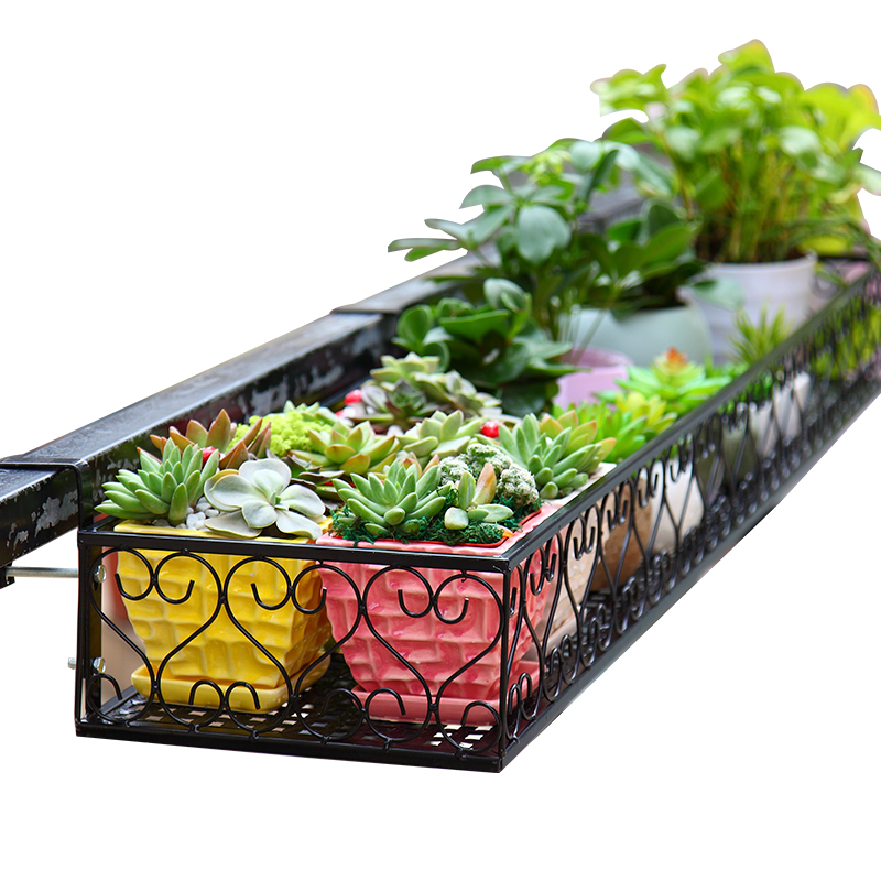 Balcony Flower Rack Hanging Wrought Iron Railing Wall Hanging Flower Pot Rack Guardrail Multi-layer Rack Hanging Shelf Window