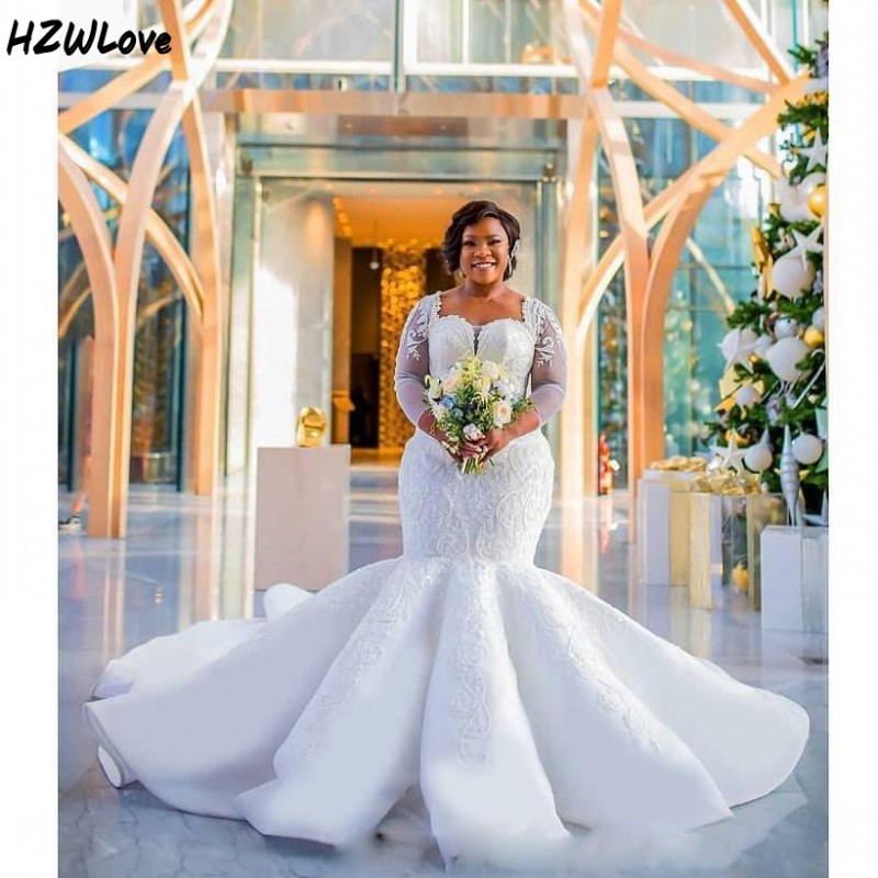 South African Mermaid Wedding Dresses Plus Size Lace Appliques Sheer Long Sleeves Bridal Gowns Long Train Wedding Vestidos