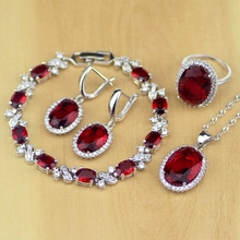 Circonia cúbica roja ovalada, Zirconia blanca, conjuntos de joyería de plata de ley 925 para mujer, pendientes de boda/colgante/Collar/anillos/pulsera