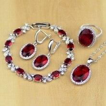Oval kırmızı CZ beyaz zirkon 925 ayar gümüş takı setleri kadınlar için küpe/kolye/kolye/yüzük/Bilezik
