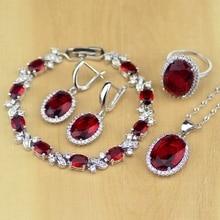 Oval vermelho cz branco zircon 925 conjuntos de jóias de prata esterlina para casamento feminino brincos/pingente/colar/anéis/pulseira