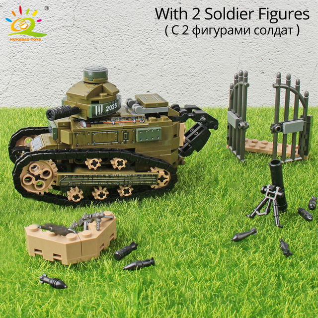 HUIQIBAO 368PCS WW2 Renault FT17 Tank Military Building Blocks Army Soldier Weapon figures man Bricks Toys for Children boys