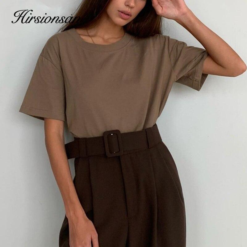 Hirsionsan 100% Cotton T Shirt Women Summer New Oversized Solid Basic Tees 9 Color Casual Loose Tshirt Korean O Neck Khaki Tops(China)