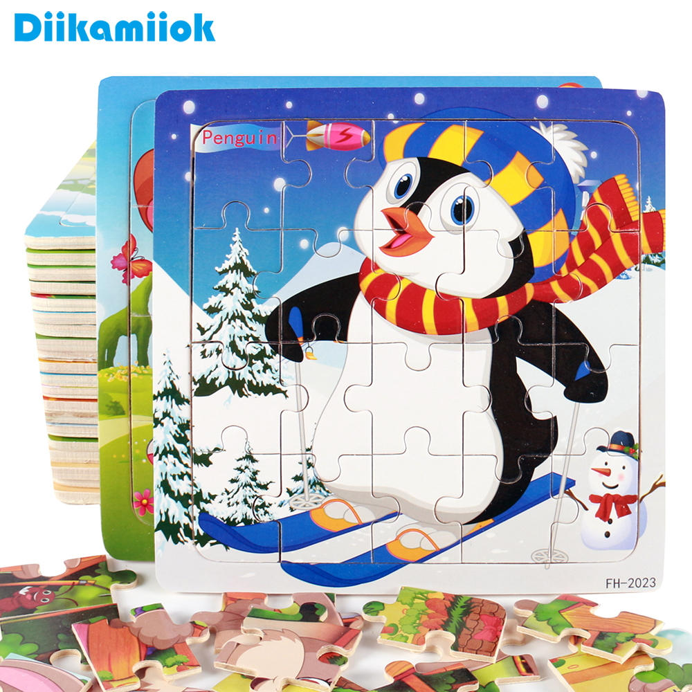 Hot Sale 20 Slice Wooden Puzzle Toy Children's Baby Educational Learning Toys for Kids Cartoon Animals/ Vehicle Jigsaw FH G020-in Puzzles from Toys & Hobbies