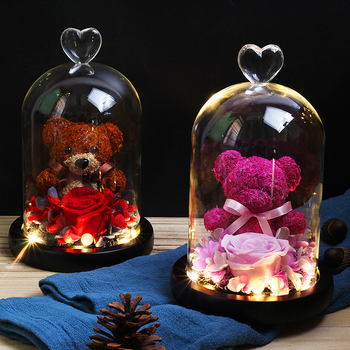 2020New Rose bear Pink Mini Bear Rose in Glass Dome Night Light Beauty And The Beast Romantic Valentine's Day Mother's Day Gifts недорого