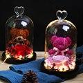 Розы Красавица и чудовище, искусственные цветы, роза, медведь, огни в стеклянном куполе, украшение для дома, День Святого Валентина, рождеств...