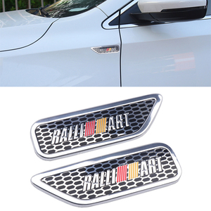 Adesivo emblema para carro mitsubishi raliart lancer, 2 peças 3d de alumínio, emblema lateral, decalque de emblema para carro outlander asx estilizador