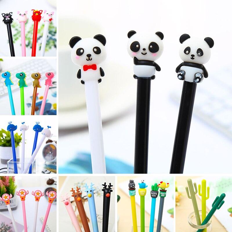 Korean Creative Kawaii Cute Cactus Cat Bear Gel Pens Glitter Color Totoro Kids Stationery Thing Kawai Stationary Kit Item Refill