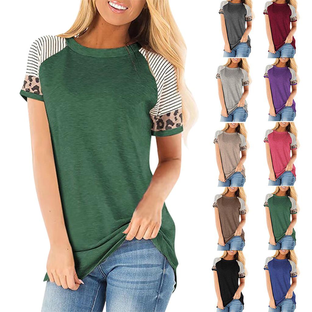 Plus Size 3XL T Shirts Women Casual Cute Shirts Leopard Print Tops Basic Short Sleeve Soft Tee Shirt Femme Vogue Woman T-shirt