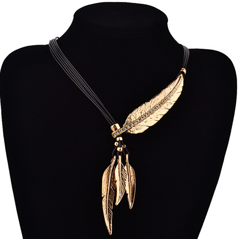 SUMENG Hot Sale New Fashion Bohemian women girl Alloy Feather Antique Vintage Time Necklace Sweater Chain Pendant Jewelry Gifts