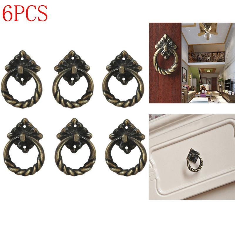 Size L Antique Brass 6pcs Vintage Retro Style Kitchen Cabinet Cupboard Dresser Door Drawer Ring Pull Handles Knobs