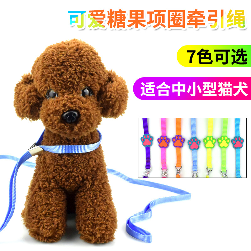 Sleeves Candy Neck Ring Pet Traction Rope New Style Cartoon Footprints Nylon Dog Contraction Band Scarf Training Item