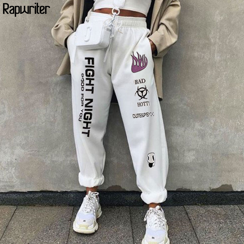 Rapwriter Fashion Drawstring Elastic High Waist Pants Women 2019 Autumn Streetwear Loose Joggers Trousers White Pantalon Femme