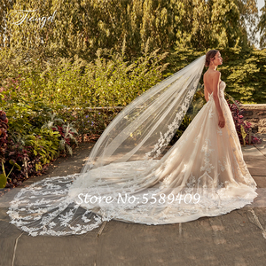 Image 3 - Traugel מתוקה קו תחרה חתונה שמלת מבריק אלגנטי Applique ואגלי שרוולים ללא משענת ארוכה רכבת כלה שמלה בתוספת גודל