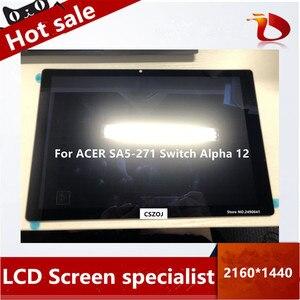Frete grátis novo original display lcd assembléia para acer SA5-271 interruptor alpha 12 display de toque n16p3