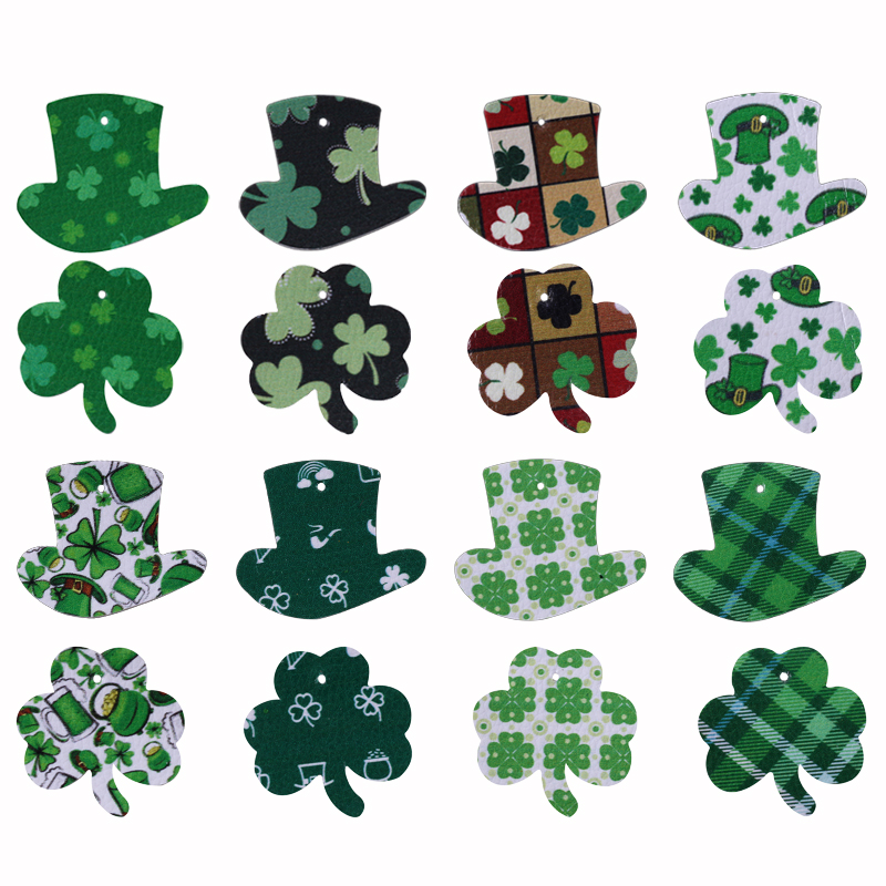 10Pcs/lot Shamrocks Hat Green Pu Leather Earrings Accessories St. Patrick's Day Charms Jewelry Connector For DIY Earing Making