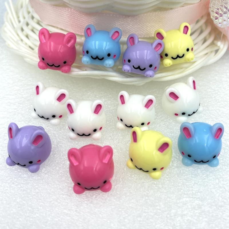 10pcs Love Bunny White Pink Resin Flatbacks Cabochons Crafts Hair Bow Center