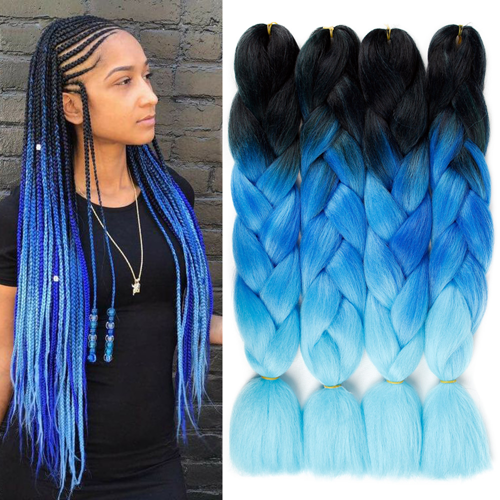 MODERN QUEEN Long 24inch Ombre Jumbo Braiding Hair Synthetic Crochet Braids Hair Extensions 100g Yaki Braiding Hair For Women