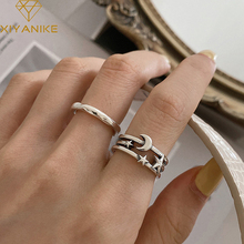 XIYANIKE 925 Sterling Silver Moon Star Thai Silver Open Rings for Women Couples Vintage Simple Party Jewelry Gifts 2020 New