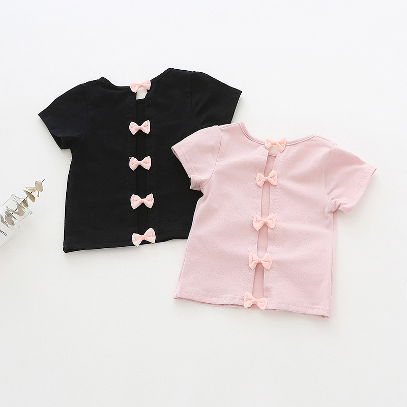 Trend Girl Backless Bow Short-sleeved T-shirt Summer New Children's Round Neck Cotton Shirt Foreign Children's Clothing