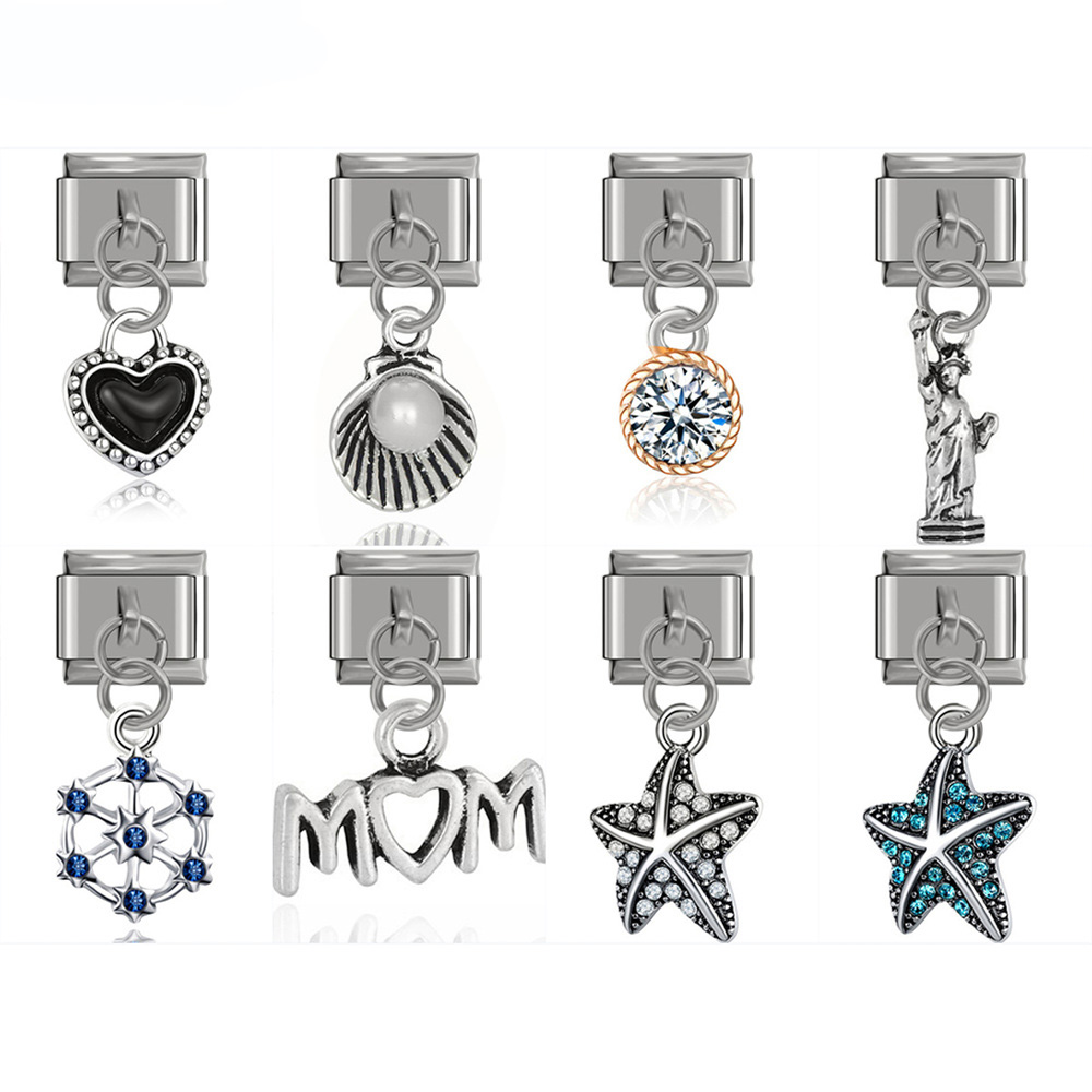 Fyour 2019 New Original Daisy Mom Star Heart Rhinestone Italian Charm Links Fit 9mm Bracelet Bangle Jewelry DIY Making DJ072