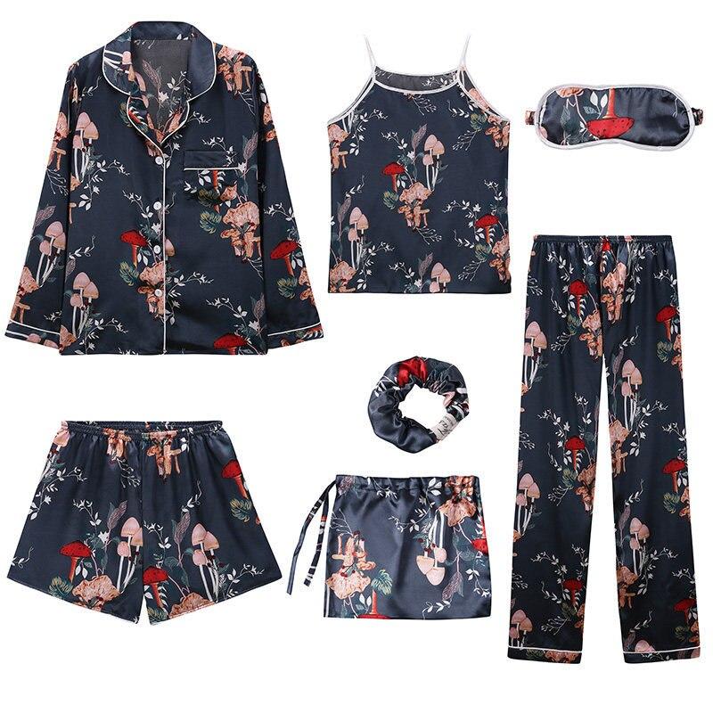 Womens Ladies Silk Pajamas For Women Girls Sleepwear 7 Piece Suit Set Satin Pyjamas Sex Pijama Nightie Sleepwear Home Clothes