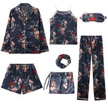 Womens Ladies Silk Pajamas for women girls Sleepwear 7 piece suit Set