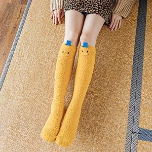 Coral Fleece Knee High Socks Winter Warm Long Women Socks Cartoon Cute Girls Socks sokken