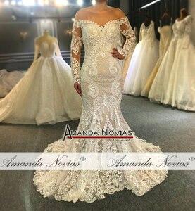 Image 3 - Kapalı omuz uzun dantel kollu mermaid düğün elbisesi 2020 özel sipariş gelin elbise