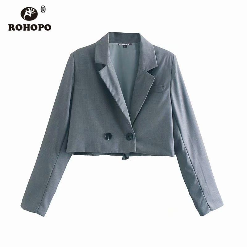 ROHOPO Slim Grey Crop Blazer V Collar Cute Short Ladies Autumn Outwear #9241