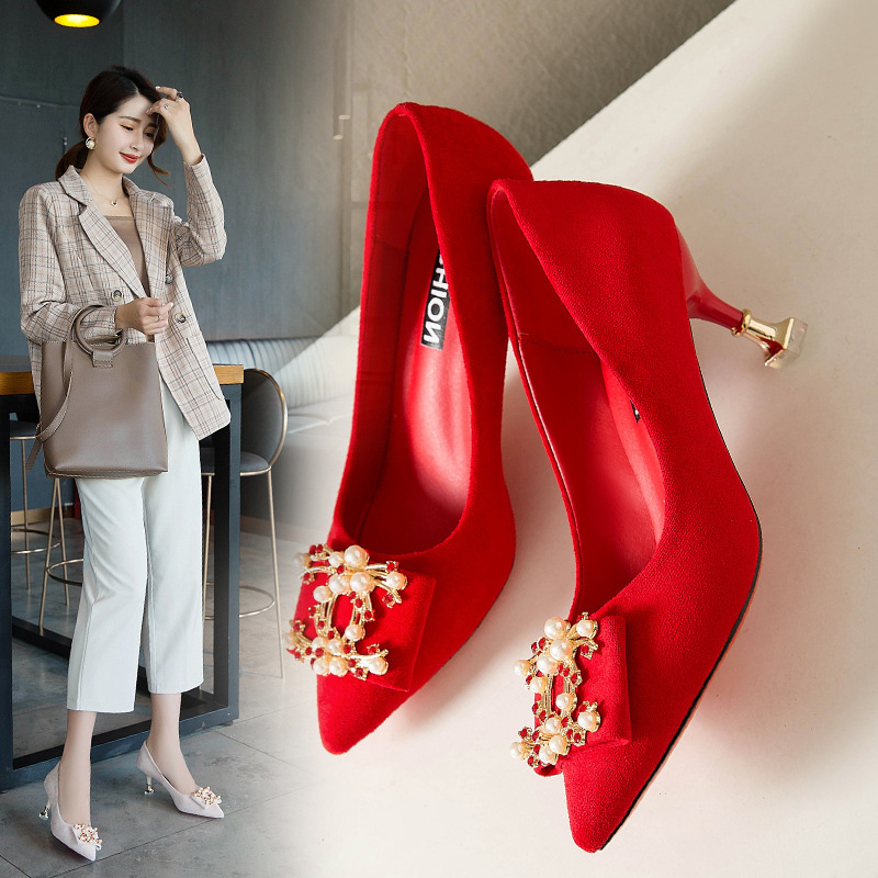 2019 New Wedding Shoes Female Rhinestone Bridesmaid Shoes Pointed High Heel Stiletto Single Shoes Bridal Shoes