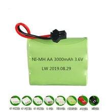 Bateria nimh para carrinho de brinquedo rc, 3.6 v 3000mah, tanques de barco, arma aa, 3.6 v, bateria recarregável nimh carro rc brinquedo barco modelo