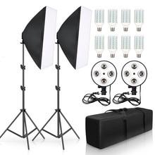 写真撮影の照明50 × 70センチメートル4灯ソフトボックスキットE27ホルダー8個電球ソフトボックスとアクセサリーのためのフォトスタジオビデオ