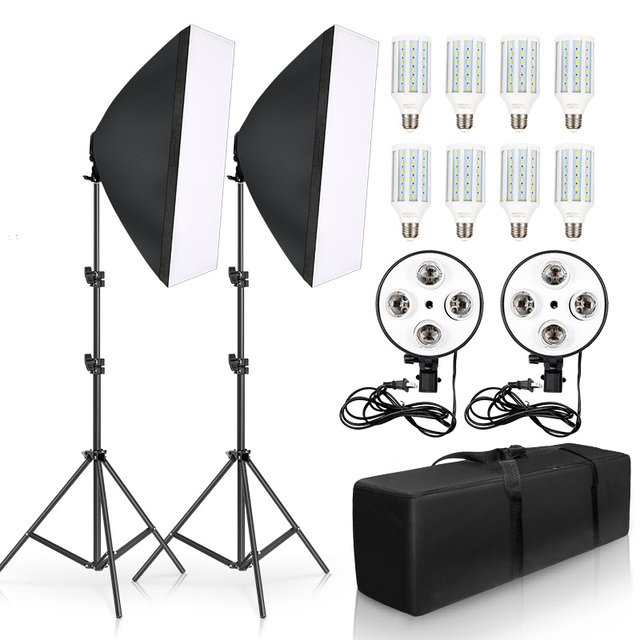 Photography Lighting 50x70CM Four Lamp Softbox Kit E27 Holder With 8pcs Bulb Soft Box Accessories For Photo Studio Video