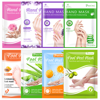 PUTIMI 3pack Moisturizing Hand Mask Spa Gloves Exfoliating Hand Patches Gloves Whitening Mask Peeling Foot Mask Remove Dead Skin 1